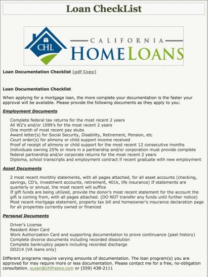 Loan Checklist